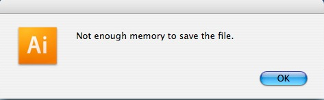 Not enough memory to save file.