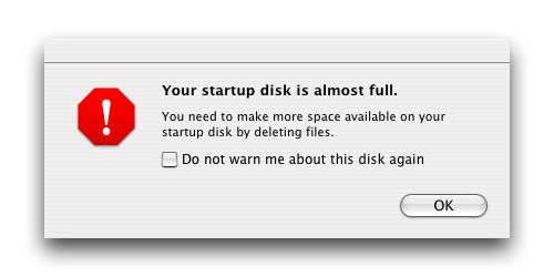 Your startup disk is almost full.