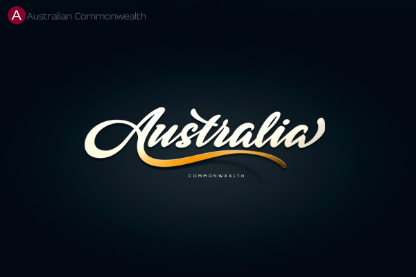 beautiful handlettered logos of countries from a to z