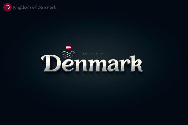 Alphabet of the Countries - Hand-lettered logo of Denmark