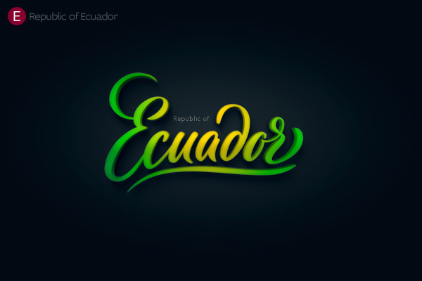 Alphabet of the Countries - Hand-lettered logo of Ecuador