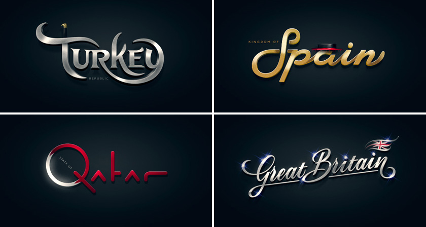 Beautiful Hand Lettered Logos Of Countries From A To Z