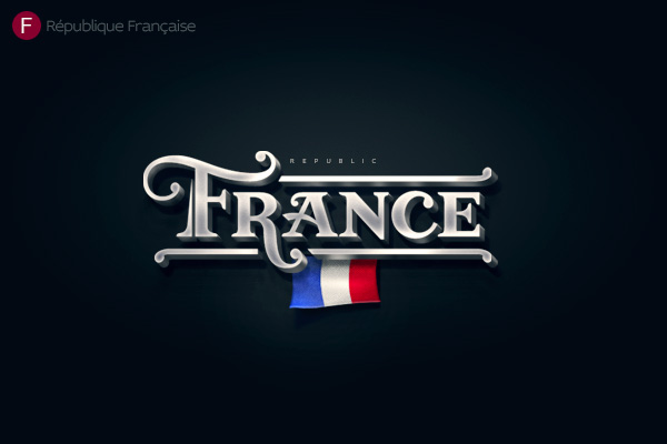 Alphabet of the Countries - Hand-lettered logo of France