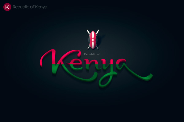 Alphabet of the Countries - Hand-lettered logo of Kenya