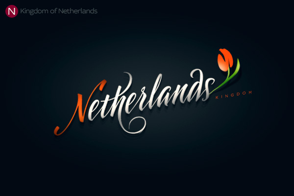 Alphabet of the Countries - Hand-lettered logo of Netherlands