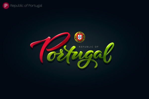 Alphabet of the Countries - Hand-lettered logo of Portugal