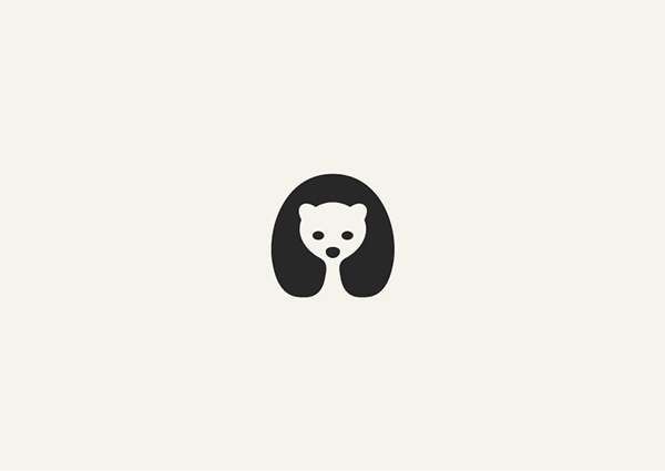 Negative Space Animals Logos: Polar Bear