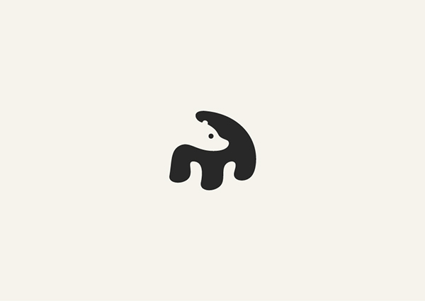 Negative Space Animals Logos: Bear