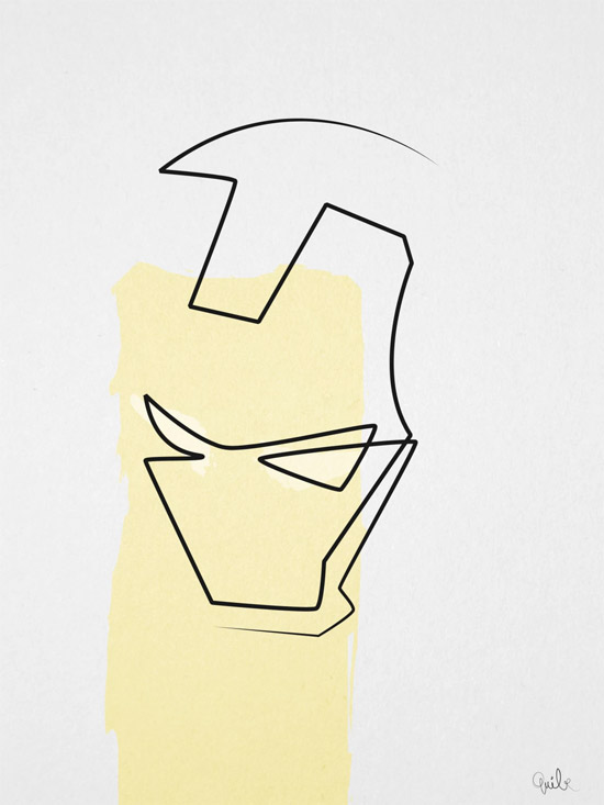 Quibe One Line Minimal Illustrations - Iron Man