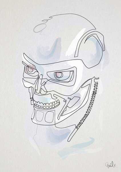 Quibe One Line Minimal Illustrations - Terminator