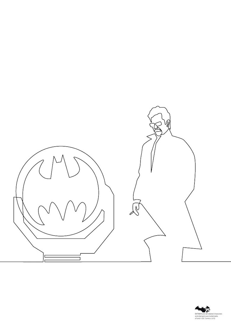 Quibe One Line Minimal Illustrations - Commissioner Gordon