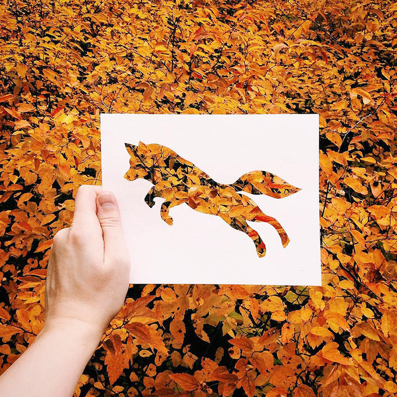 Paper cut-outs of animals filled with beautiful backdrops of nature - 1