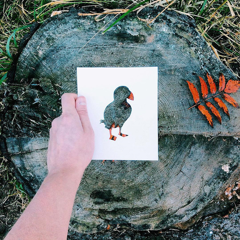 Paper cut-outs of animals filled with beautiful backdrops of nature - 12