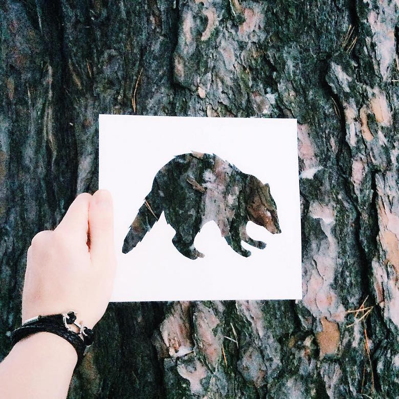 Paper cut-outs of animals filled with beautiful backdrops of nature - 19