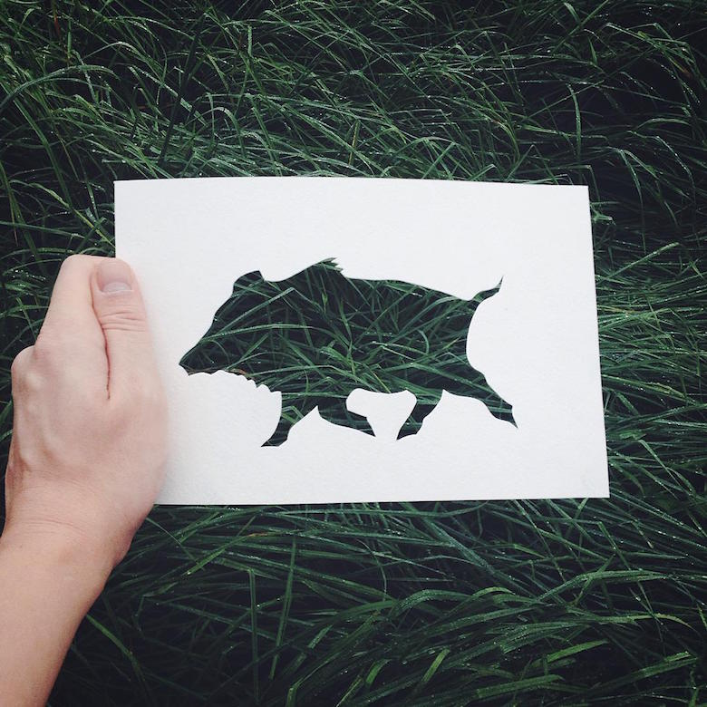 Paper cut-outs of animals filled with beautiful backdrops of nature - 20