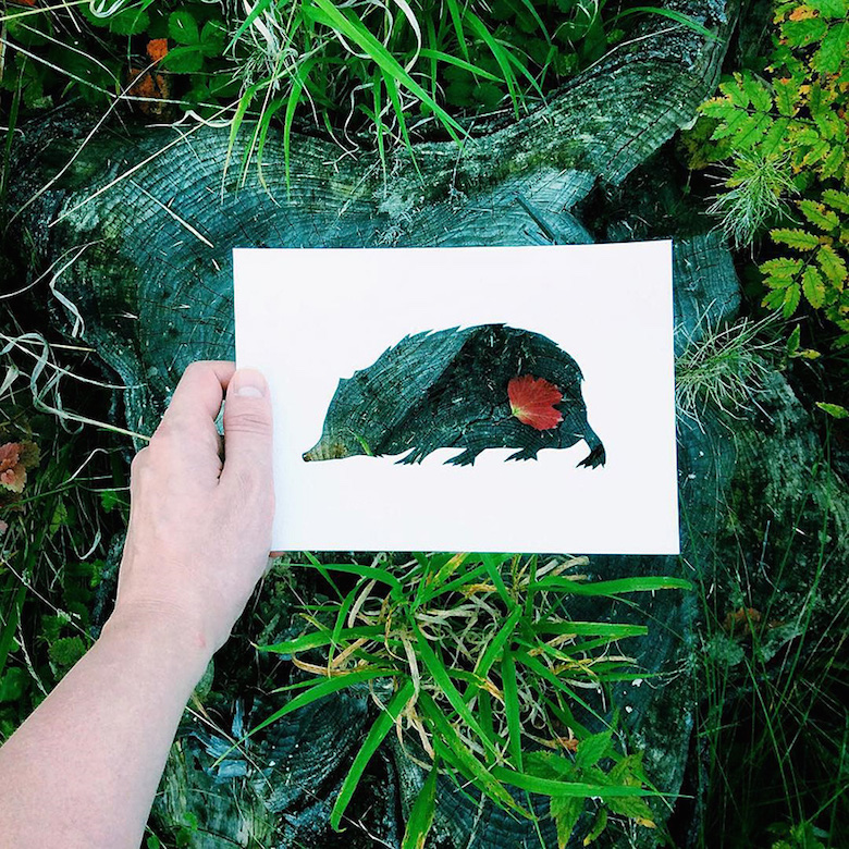 Paper cut-outs of animals filled with beautiful backdrops of nature - 28