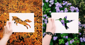 Artist Uses Beautiful Backdrops Of Nature To Fill Paper Cut-Outs Of Animals