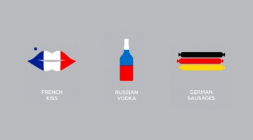 Clever Flag-Colored Icons Of Countries Based On Their Popular Products And Phrases