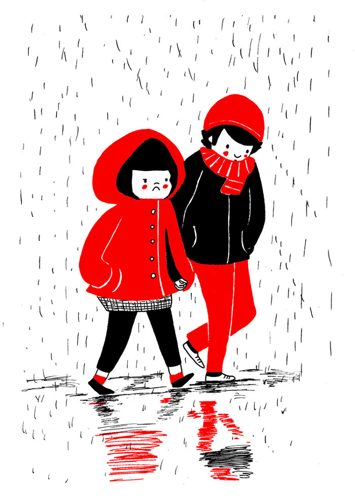Holding his/her hand while walking in the rain