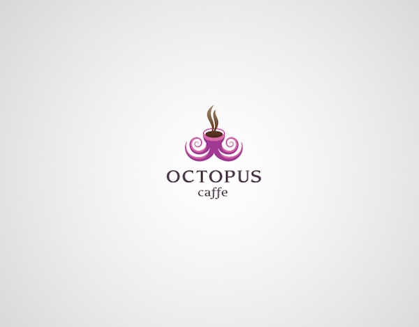 Clever and creative logos with hidden meanings and symbolism - Octopus Caffe