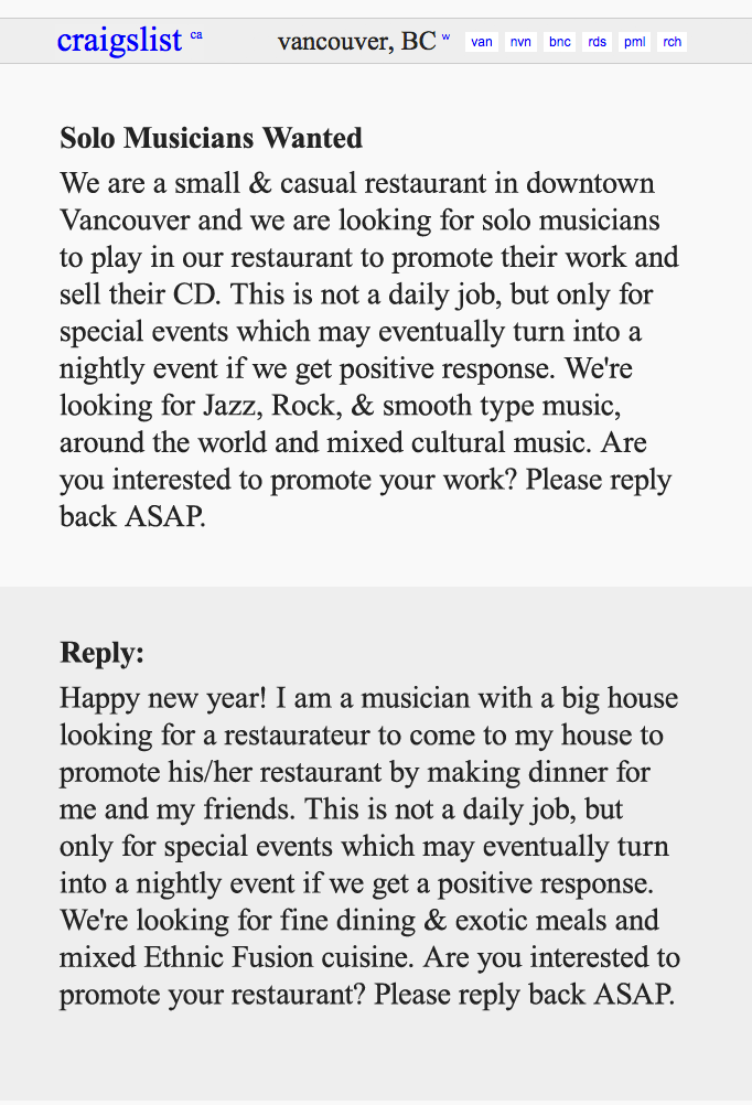 Epic Craigslist Reply To A Restaurant Asking Musicians To Play For Free