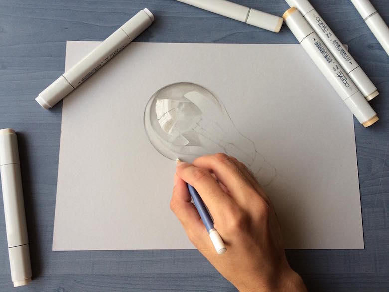 Hyperrealistic 3d drawings by Sushant Rane: Bulb - 1