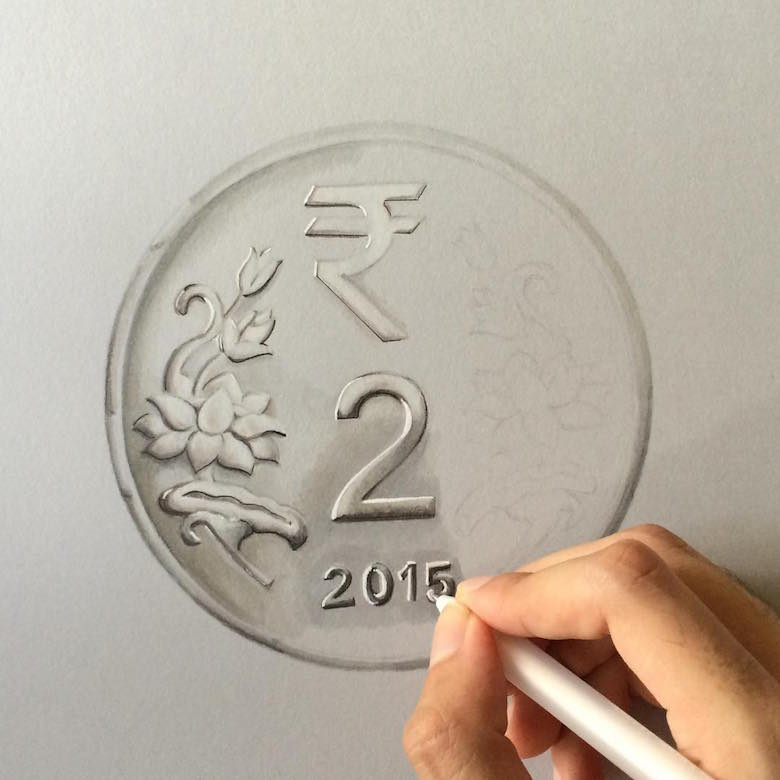 Hyperrealistic 3d drawings by Sushant Rane: Coin - 1