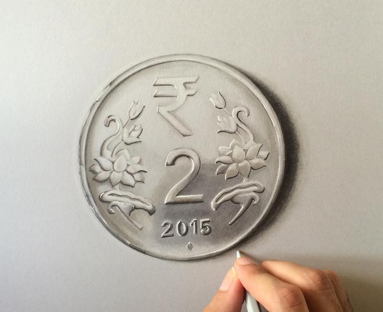 Hyperrealistic 3d drawings by Sushant Rane: Coin - 2