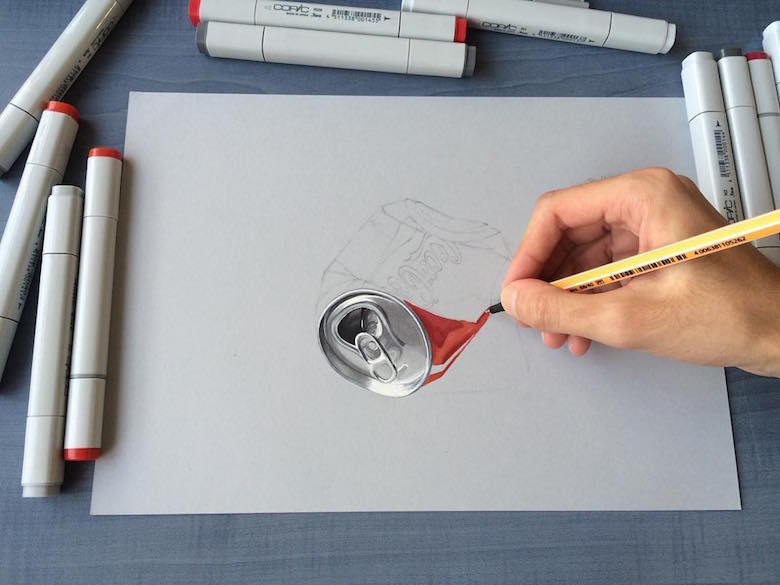 Hyperrealistic 3d drawings by Sushant Rane: Coke can - 1