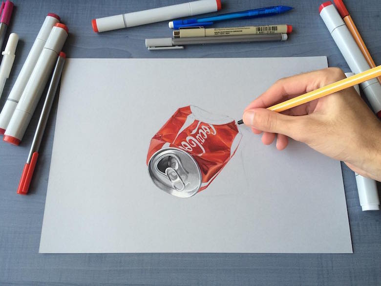 Hyperrealistic 3d drawings by Sushant Rane: Coke can - 2
