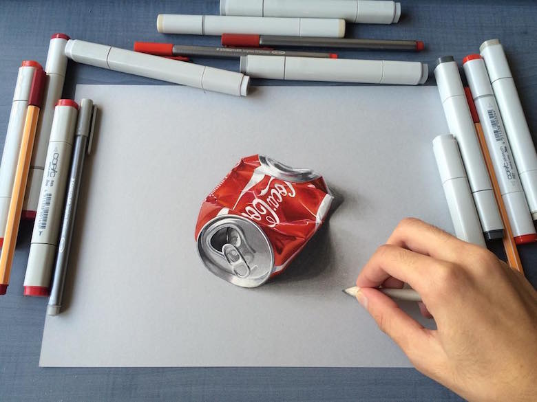 Hyperrealistic 3d drawings by Sushant Rane: Coke can - 3