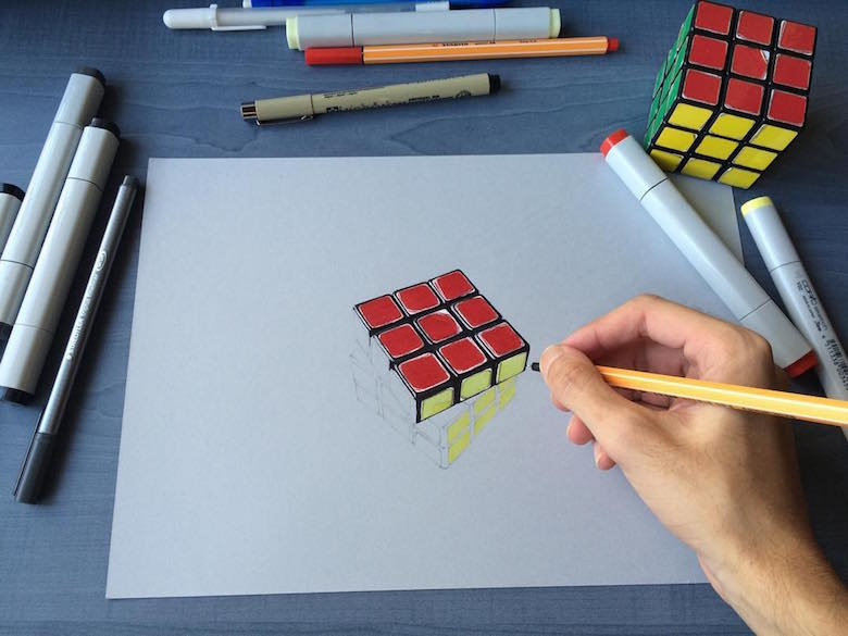 Hyperrealistic 3d drawings by Sushant Rane: Rubix cube - 1