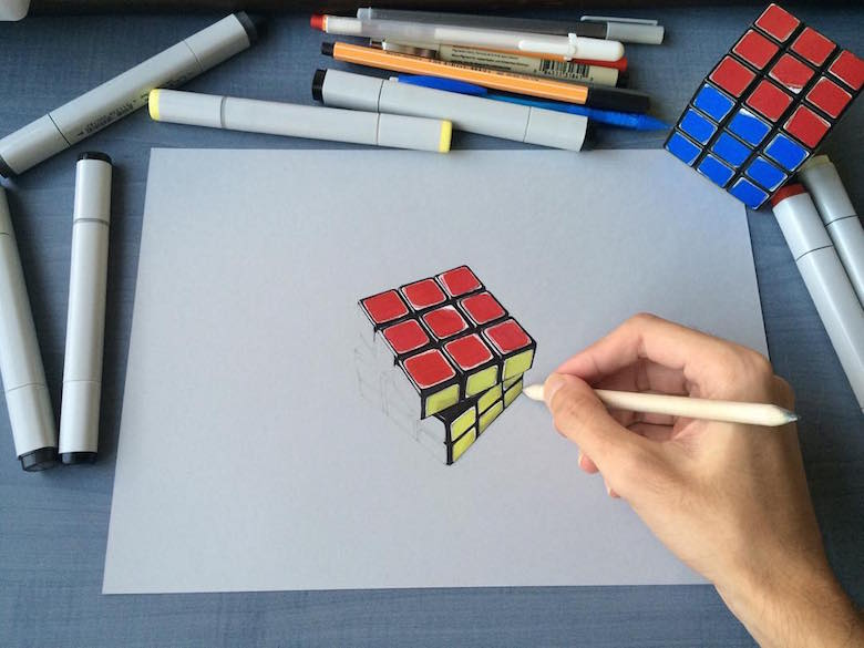 Hyperrealistic 3d drawings by Sushant Rane: Rubix cube - 2