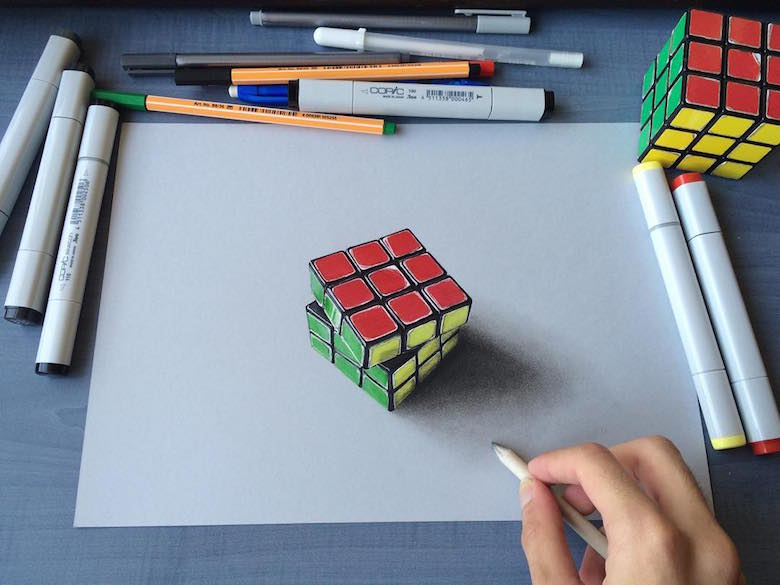 Hyperrealistic 3d drawings by Sushant Rane: Rubix cube - 3