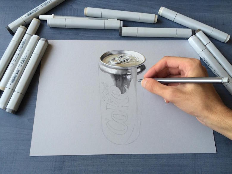 Hyperrealistic 3d drawings by Sushant Rane: Diet Coke can - 1