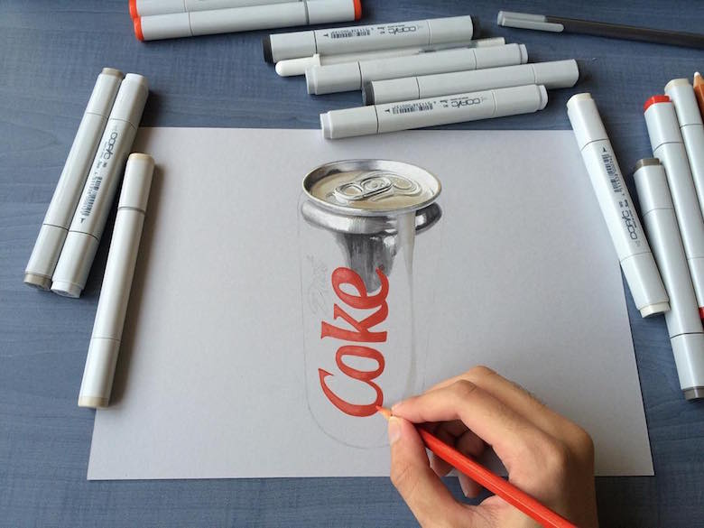 Hyperrealistic 3d drawings by Sushant Rane: Diet Coke can - 2
