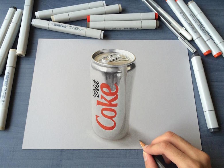 Hyperrealistic 3d drawings by Sushant Rane: Diet Coke can - 3