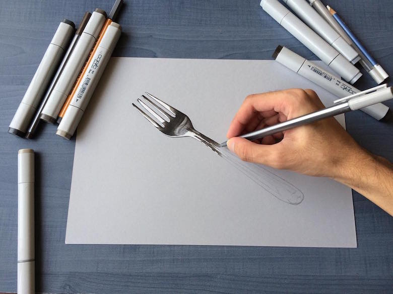 Hyperrealistic 3d drawings by Sushant Rane: Fork - 1