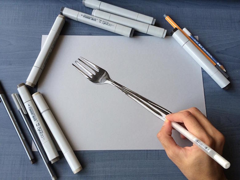 Hyperrealistic 3d drawings by Sushant Rane: Fork - 2