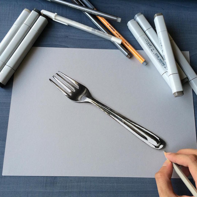 Hyperrealistic 3d drawings by Sushant Rane: Fork - 3