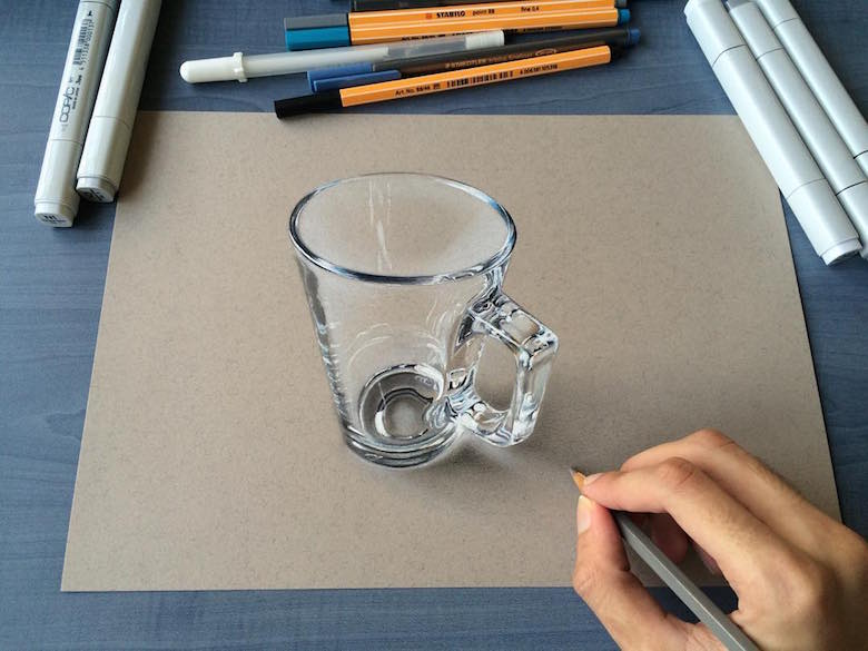 Hyperrealistic 3d drawings by Sushant Rane: Glass - 3