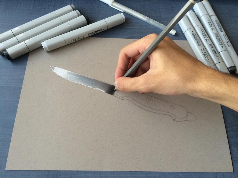 Hyperrealistic 3d drawings by Sushant Rane: Knife - 1