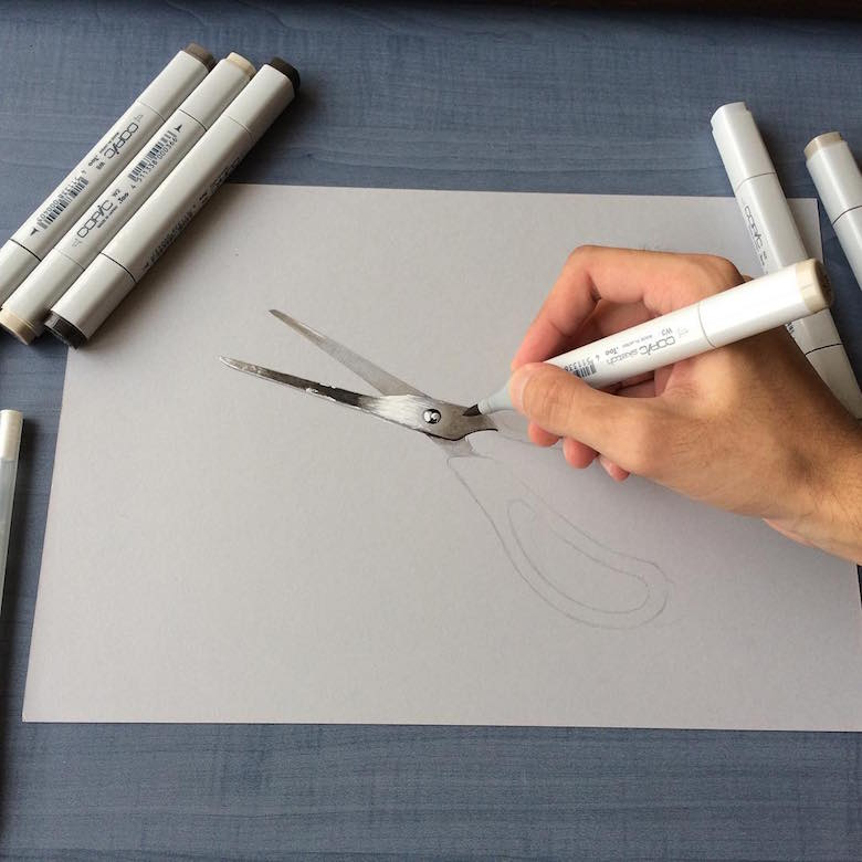 Hyperrealistic 3d drawings by Sushant Rane: Scissors - 1