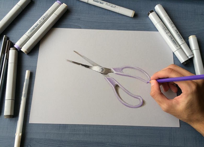 Hyperrealistic 3d drawings by Sushant Rane: Scissors - 2
