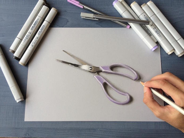 Hyperrealistic 3d drawings by Sushant Rane: Scissors - 3