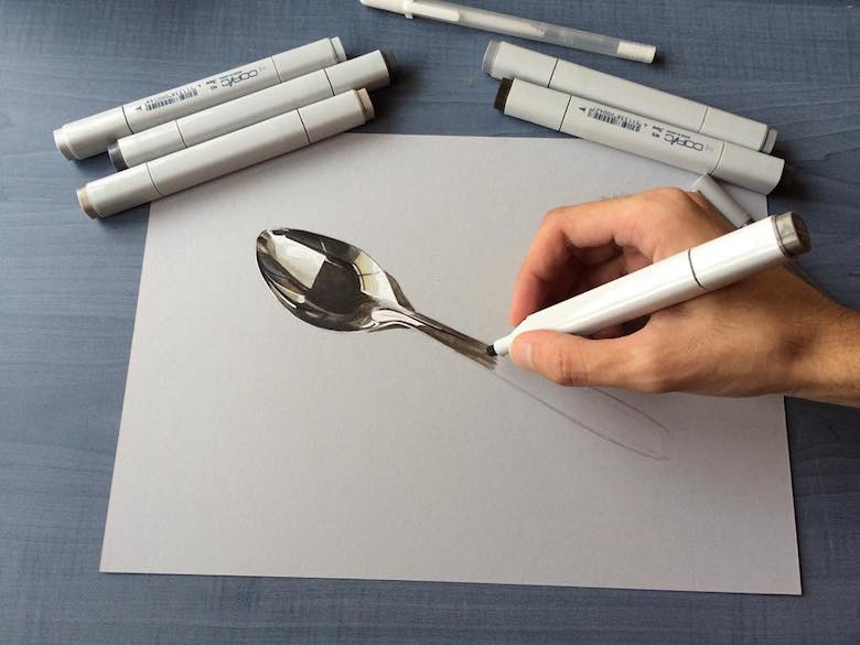Hyperrealistic 3d drawings by Sushant Rane: Spoon - 1