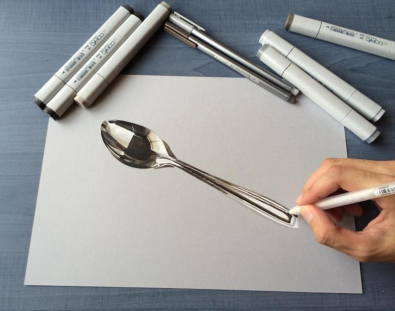 Hyperrealistic 3d drawings by Sushant Rane: Spoon - 2