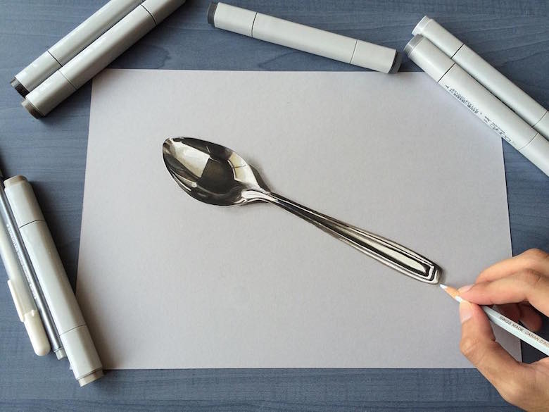 Hyperrealistic 3d drawings by Sushant Rane: Spoon - 3