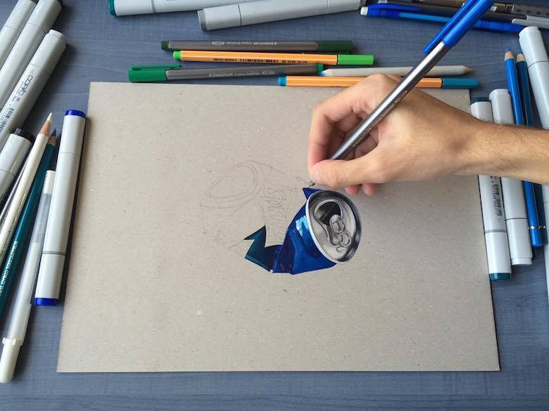 Hyperrealistic 3d drawings by Sushant Rane: Sprite can - 1