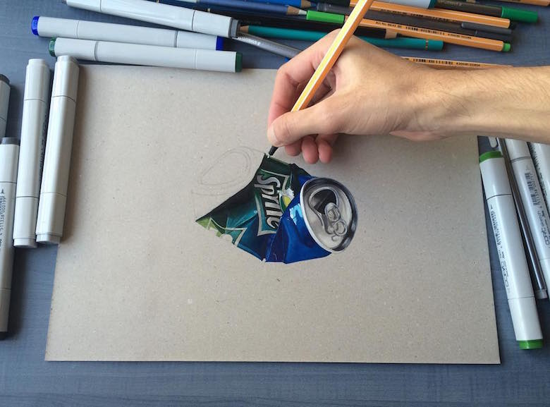 Hyperrealistic 3d drawings by Sushant Rane: Sprite can - 2